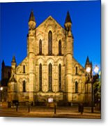 East Side Of Hexham Abbey At Night Metal Print