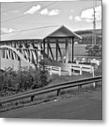 East St. Claire Covered Bridge Black And White Metal Print