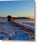 East Texas Snow, Lake Bob Sandlin, Texas. Metal Print