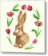 Easter Background With Rabbit Metal Print