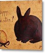 Easter Golden Egg And Chocolate Bunny Metal Print