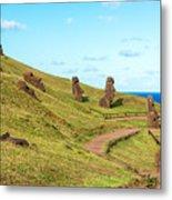 Easter Island Moai At Rano Raraku Metal Print