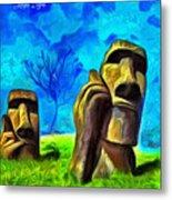 Easter Island - Van Gogh Style - Pa Metal Print