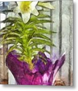 Easter Lily And Doll Metal Print