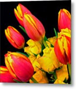 Easter Tulips And Roses Metal Print