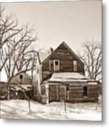Eastern Montana Farmhouse Sepia Metal Print