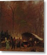 Eastman Johnson - A Different Sugaring Off - Circa 1865 Metal Print