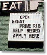 Eat Sign Metal Print