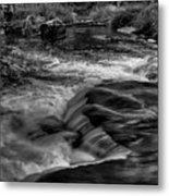 Eau Claire Dells Black And White Flow Metal Print