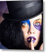 Eccentric Mad Fashion Hatter In Colourful Makeup Metal Print