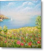 Edge Of The Cliffs By The Sea Metal Print