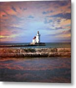 Edgewater Lighthouse Sunset Metal Print