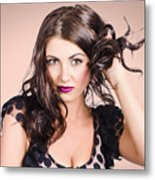 Edgy Hair Fashion Model With Brunette Hairstyle Metal Print