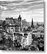 Edinburgh From Calton Hill.    Black And White Metal Print