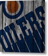 Edmonton Oilers Wood Fence Metal Print