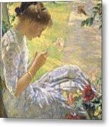 Edmund Charles Tarbell - Mercie Cutting Flowers 1912 Metal Print