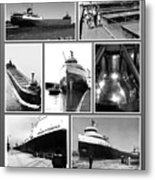 Edmund Fitzgerald Black And White Metal Print