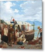 Eduardo Matania - Fishing Family In The Bay Of Naples 1872 Metal Print