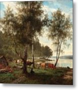 Edvard Bergh, Summer Landscape With Cattle And Birches. Metal Print
