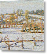 Effect Of Snow At Eragny Metal Print by Camille Pissarro