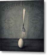 Egg And Fork Metal Print