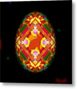 Egg Easter On Black Metal Print