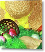 Eggs And A Bonnet For Easter Metal Print