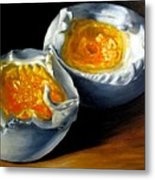 Eggs Contemporary Oil Painting On Canvas  Metal Print