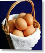 Eggs In A Wicker Basket. Metal Print