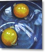 Eggs In Blue Bowl Metal Print