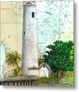 Egmont Key Lighthouse Fl Nautical Map Metal Print