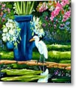 Egret Visits Goldfish Pond Metal Print