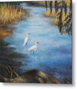 Egrets On The Ashley At Charles Towne Landing Metal Print by Pamela Poole