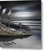 Egrets Watching Metal Print