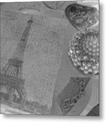 Eiffel Shades Of Grey Metal Print