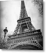 Eiffel Tower And Lamp Post Bw Metal Print