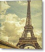 Eiffel Tower And Pont D'lena Vintage Metal Print