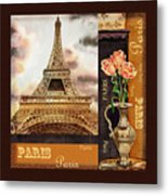 Eiffel Tower And Roses Metal Print