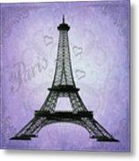 Eiffel Tower Collage Purple Metal Print