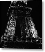Eiffel Tower Illuminated At Night First And Second Decks Paris France Black And White Metal Print