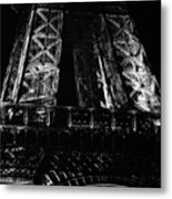Eiffel Tower Illuminated At Night First Floor Deck Paris France Black And White Metal Print