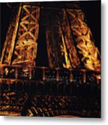 Eiffel Tower Illuminated At Night First Floor Deck Paris France Metal Print