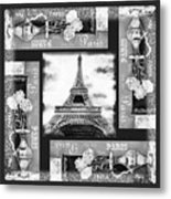 Eiffel Tower In Black And White Design I Metal Print