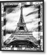 Eiffel Tower In Black And White Design II Metal Print
