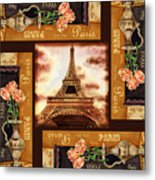 Eiffel Tower Roses Dance Metal Print