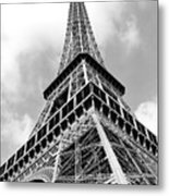 Eiffel Tower Sunlit Corner Perspective Paris France Black And White Metal Print