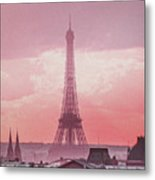 Eiffel Tower Sunset Art Metal Print