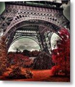 Eiffel Tower Surreal Photo Red Trees Paris France Metal Print