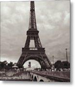 Eiffel Tower With Bridge In Sepia Metal Print