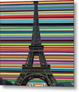 Eiffel Tower With Lines Metal Print